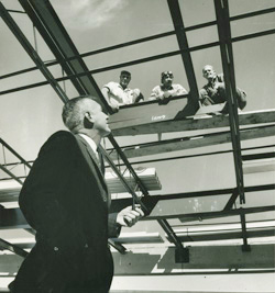President Zumberge inspecting construction
